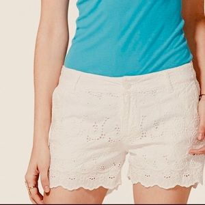 Lucky Brand off white cotton lace eyelet shorts